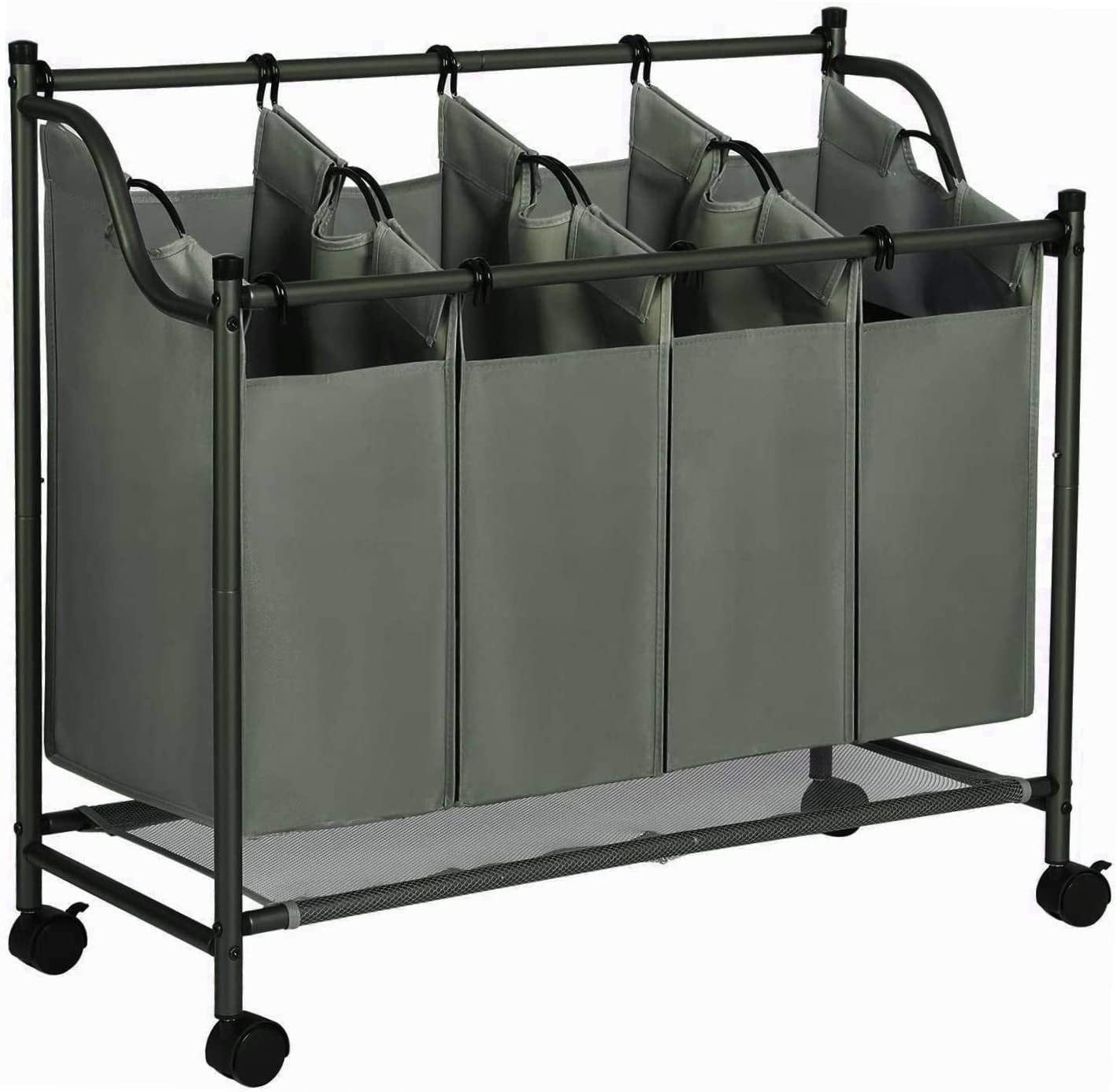 2 Pockets Each 4 Bags, Army Green JINAMART Brown Heavy Duty Laundry Sorter 4 Bag Laundry Hamper Basket with Wheels Storage Cart