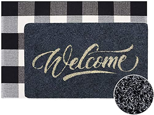 Welcome Doormat, Hello Mat Outdoor Rug Buffalo Plaid Layered Rug, Non Slip Entryway Indoor Outdoors Mats, Welcome, Grey