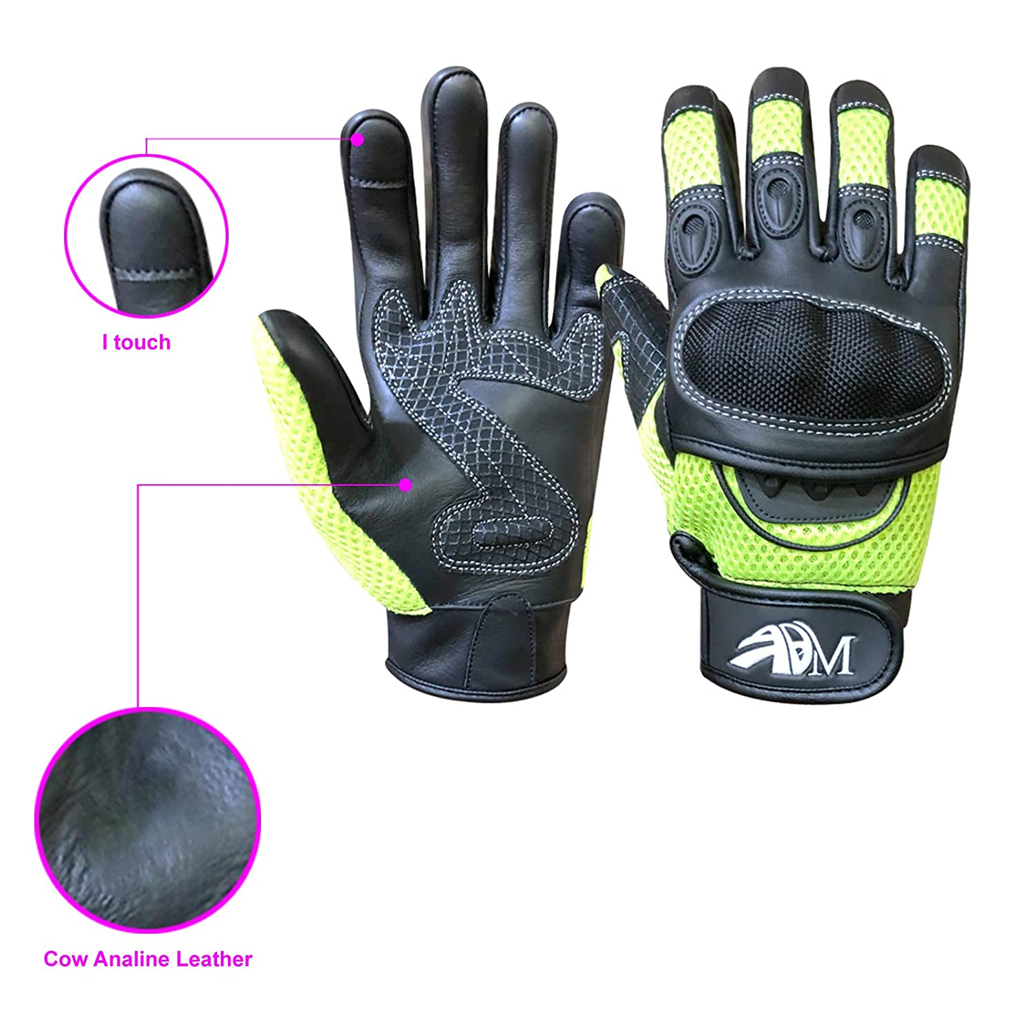 Ladies Cow Hide Leather Full Finger Summer Motorbike Mountain Bike knuckle Protection Racing Gloves 9001 LDY 9001 Purple LDY, XS