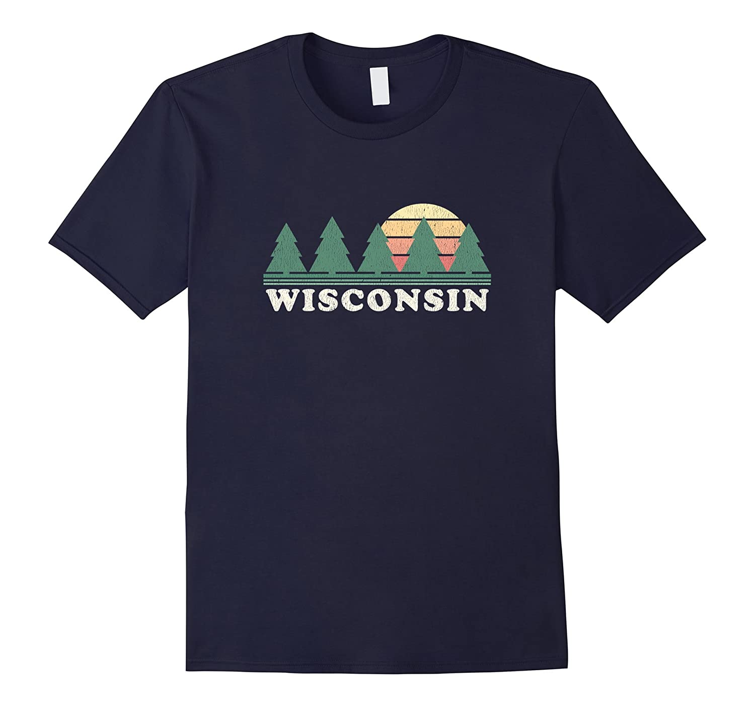 Wisconsin WI T-Shirt Vintage Graphic Tee Retro 70s Design-Rose