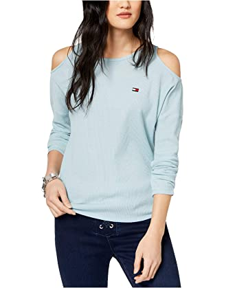 d940568eed073 Image Unavailable. Image not available for. Color  Tommy Hilfiger Sport Cold -Shoulder Waffle-Knit Top