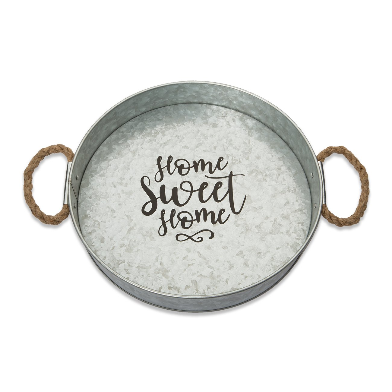 Brownlow Gifts Galvanized Metal Round Serving Tray, Home Sweet Home