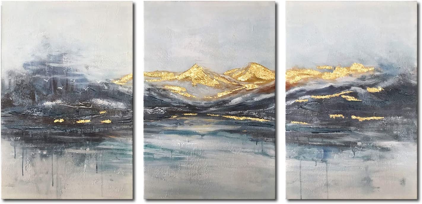 Rtriel Abstract Mountain Canvas Wall Art Modern Watercolor Prints with Hand Embellishment Dark Blue and Gold Pictures for Living Room Bedroom Home Decor 16 x 24 Inches 3 Pieces