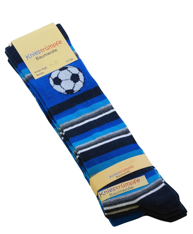 Cotton Prime 3 oder 6 Paar Kinder Kniestrümpfe mit Fußball Motiven, Baumwolle (ÖKO-Tex Standard 100 zertifiziert) 6007