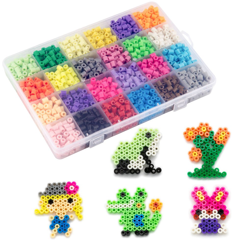 Non-Ironing Fuse Beads Kit, Water Glued Beads, 24 Colors Water Sticky Beads with 10 Patterns & 4 Pegboards Magical Water Beads For Kids