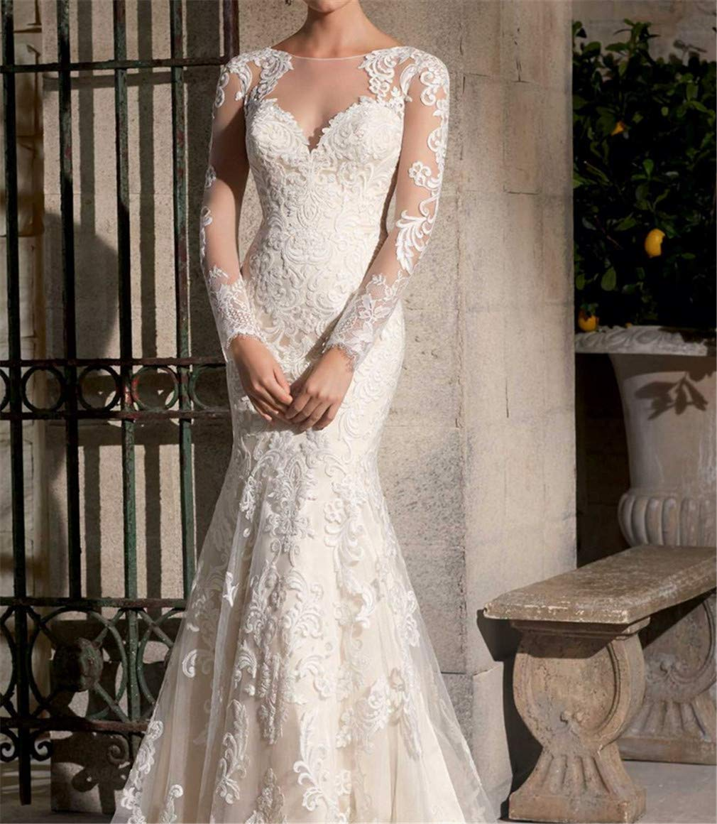 XL Wedding Dress, Europe and America Sexy Perspective Deep VNeck Long Sleeve Hand Embroidery high Quality Lace Cultivation Fish Tail Church Wedding Dress