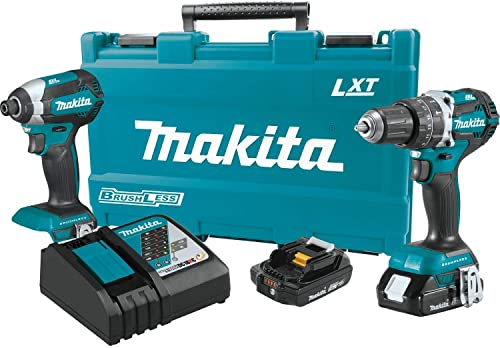 Makita XT269R 2 Amp 18V Compact LXT Lithium-Ion Brushless Cordless Combo Kit 2 Piece , XT269R, Blue