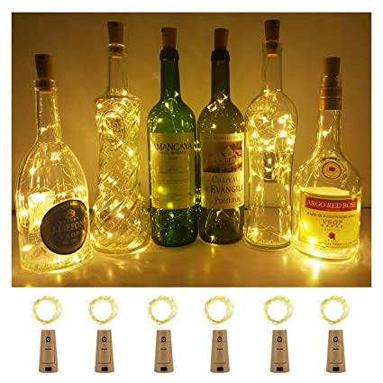 Aluan Wine Bottle Lights With Cork 12 Led Cork Bottle Lights Battery Included Wine Cork Lights For Diy Party Wedding Christmas Bar Bottle Jar Lamp