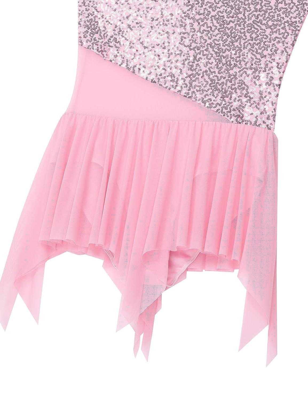 iixpin Abito da Ballo Latino Americano Donna Vestito Danza Clssica da Balletto Paillettes Costume Ballerina Tutu Corto Asimmetrico Body Ginnastica Ritmica Dancewear