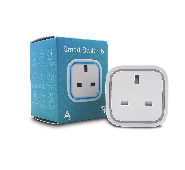 Aeotec Smart Switch 6 with USB Charging Port, Z-Wave Plus Wireless ...