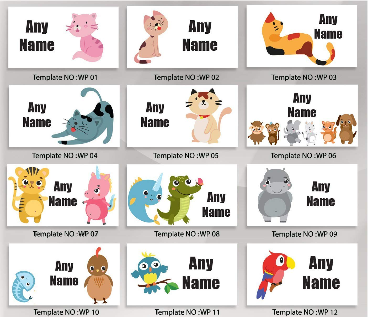 Personalized Labels for Kids Cute Underwater Animals Waterproof Labels for Kids Labels for School Children/'s Labels