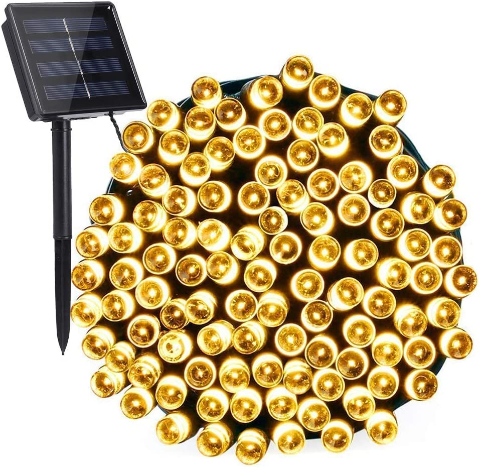Solar Christmas Lights 39.4 Feet/100 LED String Lights, for Patio, Garden, Lawn, Outdoor Wedding Tents (Warm White)