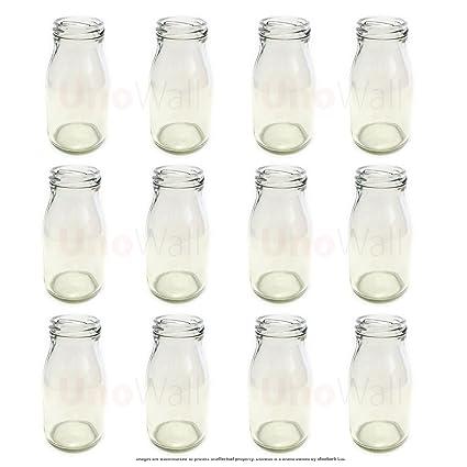 Juego de 12 botellas de leche de cristal, estilo clásico y original, tamaño pequeño