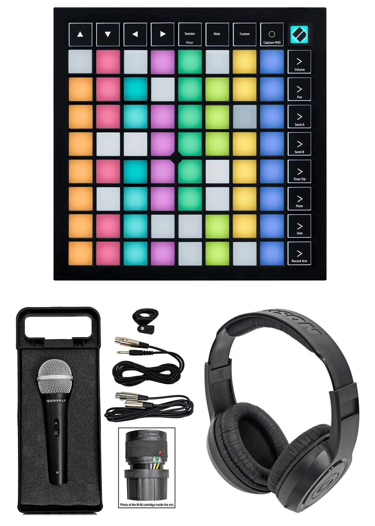 Novation Launchpad X MIDI USB Music Production Pad Controller+Mic+Headphones by Novation