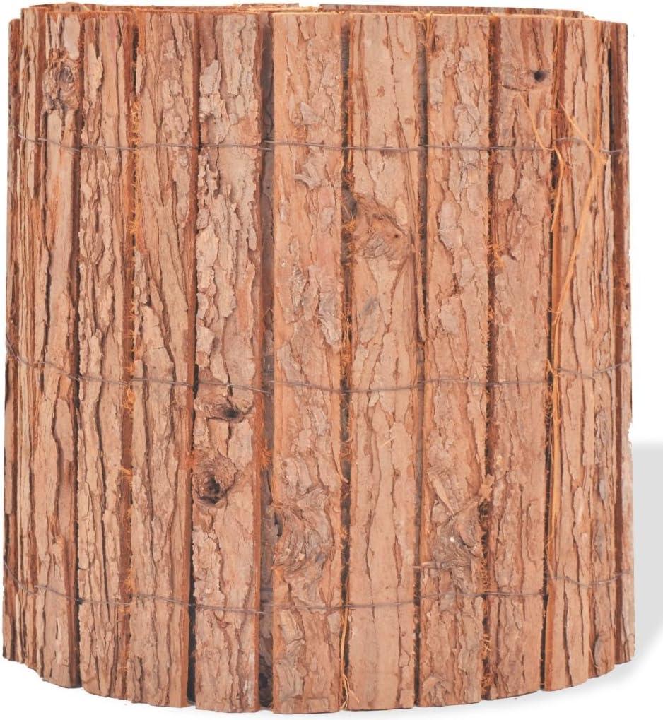 Festnight Rinde Dekorativer Gartenzaun Rindenzaun Gartendekor Zaun 1000 x 30 cm