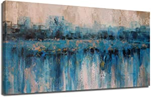 Arjun Abstract Canvas Wall Art Painting Modern Blue Themes Cityscape Textured Teal Picture, Large Size 48