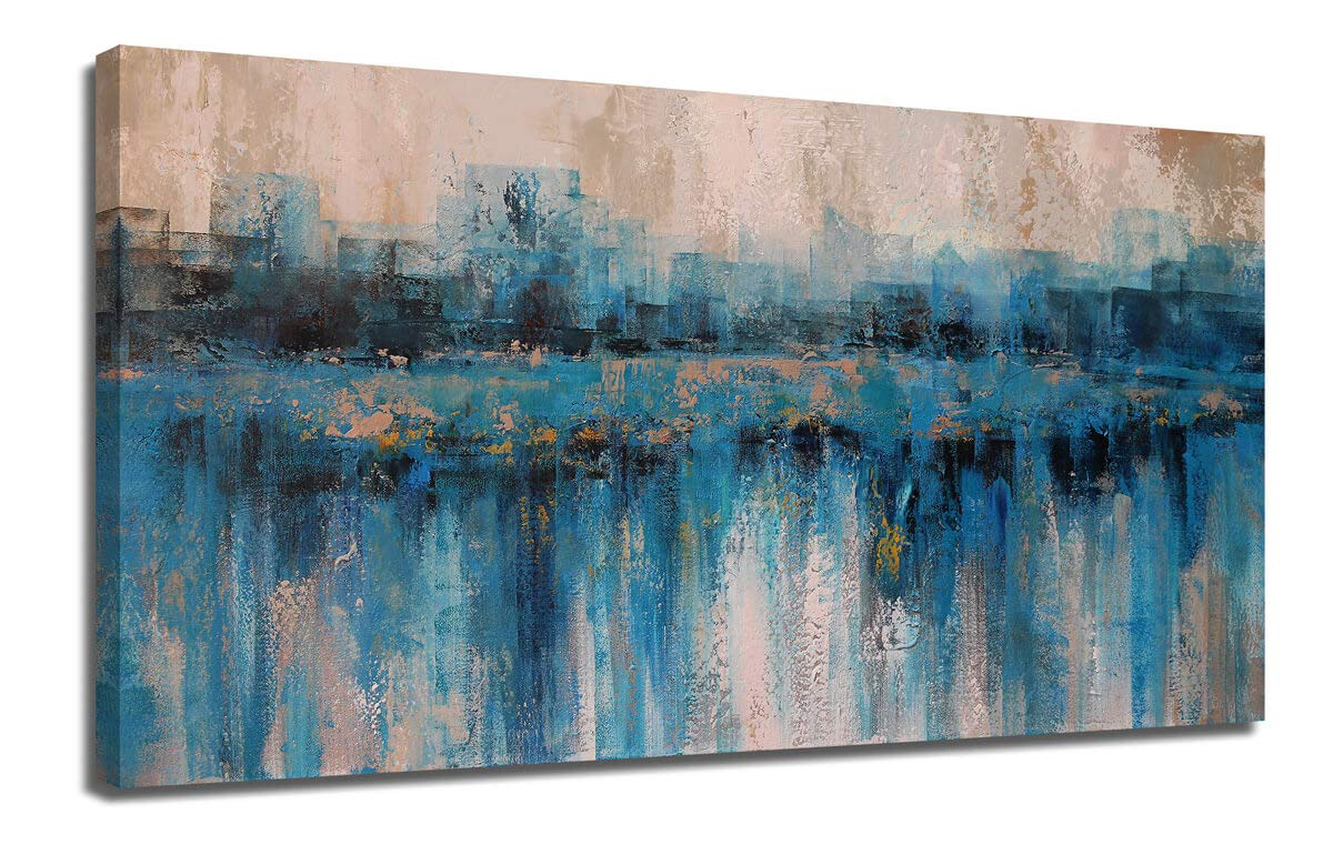 """Canvas Wall Art Abstract Large Size Modern Blue Grey Themes Cityscape Textured Painting One Panel Framed 40""""x20"""" Artwork Prints Ready to Hang for Living Room Bedroom Home Office Decor"""