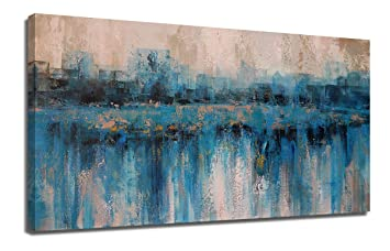 Canvas Wall Art Abstract Large Size Modern Blue Grey Themes Cityscape Textured Painting One Panel Framed 40 X20 Artwork Prints Ready To Hang For