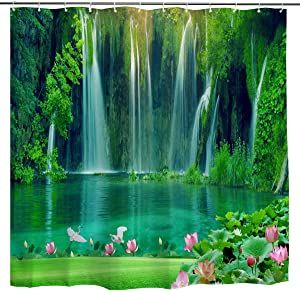 BROSHAN Waterfall Shower Curtain Fabric, Tropical Forest Tree Waterfall Lake with Lutus Flower Summer Scene Art Print, Green Nature Waterproof Bathroom Decor Set with Hooks,72 x 72 Inch