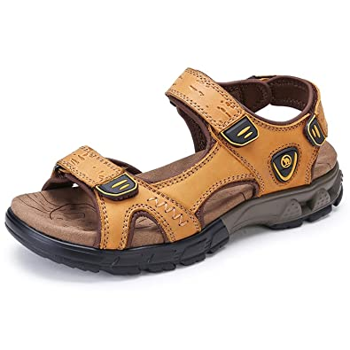 500d45a92376 CAMEL CROWN Mens Walking Sandals Athletic Slide Summer Leather Fisherman Beach  Casual Shoes Kraft Strap Hiking Open Toe  Amazon.co.uk  Shoes   Bags