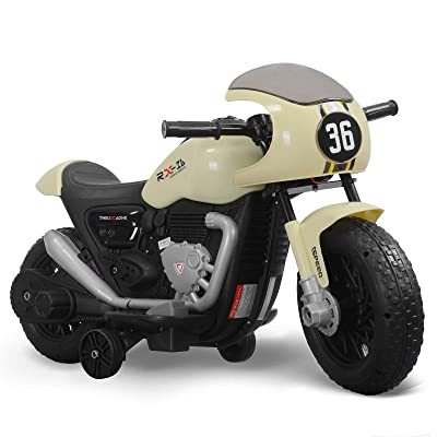 Fitnessclub 6V Kids Ride On Electric Motorcycle Ride On Toy for Kids Beige: Toys & Games