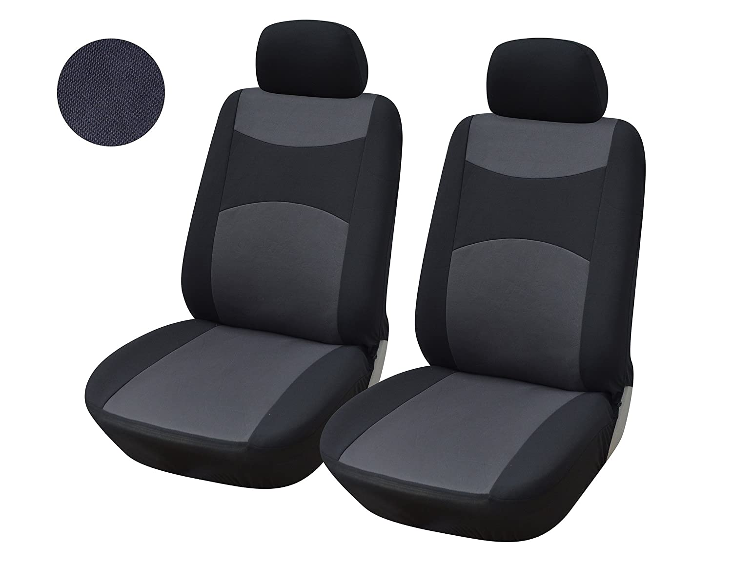 4PC Set Front Car Seat Covers Polyester Cloth For Nissan Altima Leaf Murano Note Rogue Sentra Versa Black And Gray Two Tone Color 77F160 BK Automotive