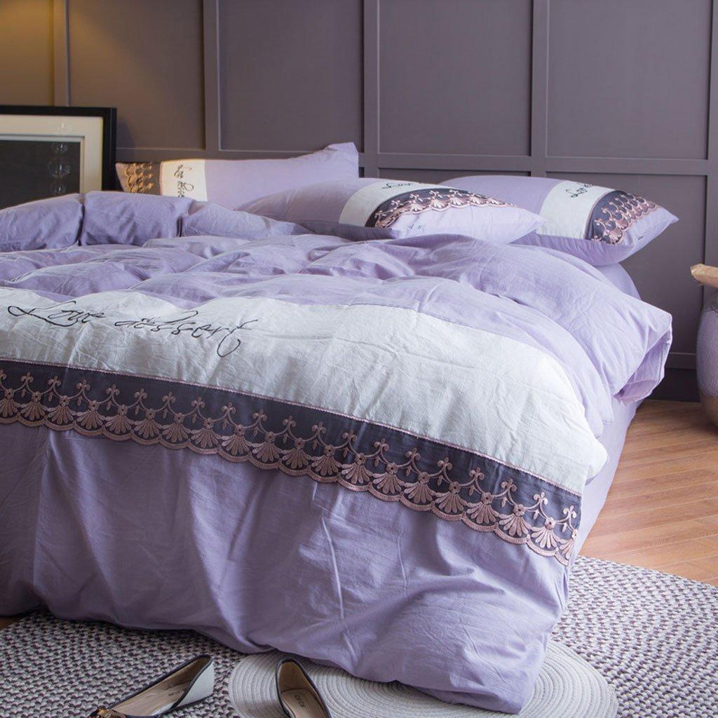 秋と冬のベッドライニング4点セット豪華なロマンチック快適な洗濯綿ホームテキスタイルシートキルト (Color : D, Size : 200 * 230cm) B07FM8JFF4 D 200*230cm