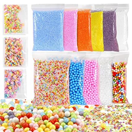Review Fluffy Slime Supplies, Small Large Foam Balls Kits DIY, Beautiful Color Shining Crystal Scented Stress Relief Toy for Kids Girl Boy, Super Soft Non Sticky, Clay Slime Stuff Kit (Multicolour)