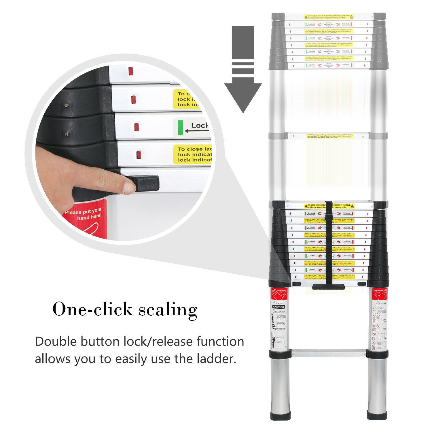 WolfWise 12.5 FT Telescoping Ladder Aluminum Telescopic Extension Tall Multi Purpose by WolfWise (Image #4)