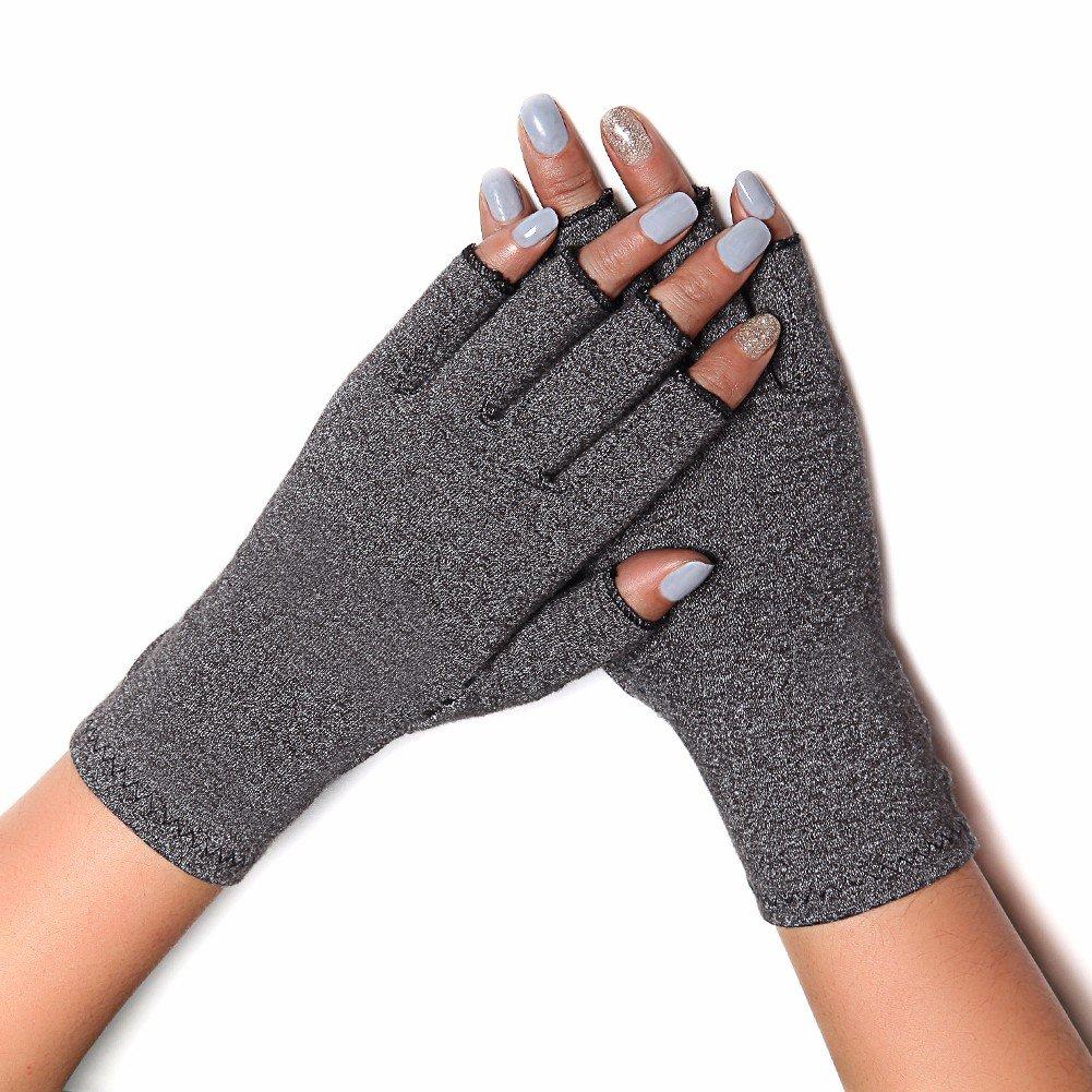 COLO Arthritis Gloves Compression Gloves for Rheumatoid & Osteoarthritis - Men & Women Hand Gloves Provide Arthritic Joint Pain Symptom Relief - 2 Pair Grey(M)