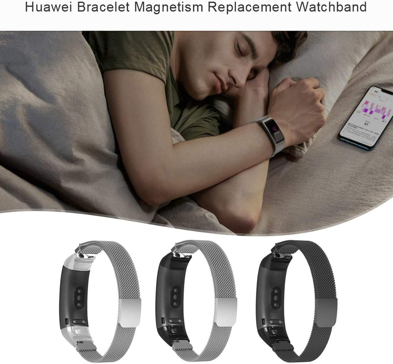 Magnetic Metal Wrist Strap Band For Huawei 3//3 Pro Wristband Milanese Stainless Steel Replacement