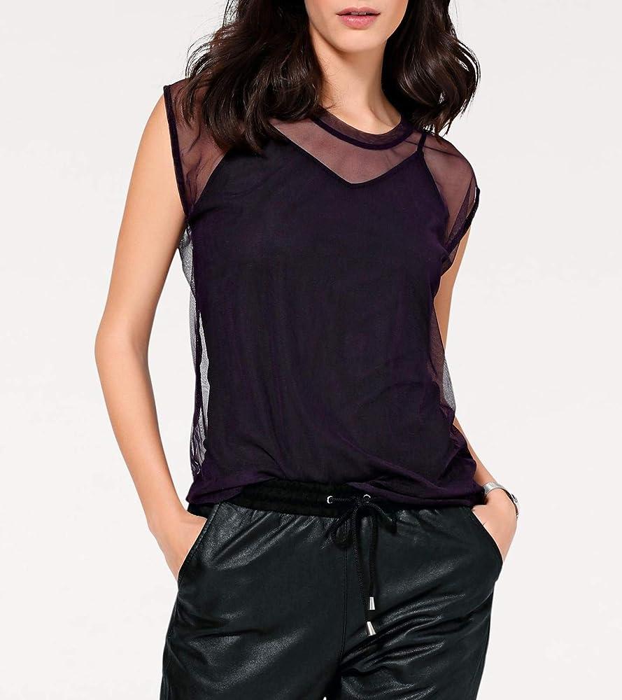 RICK CARDONA Camiseta Transparente Mujer Cuello Redondo Camisa de Malla Violeta, tamaño:42: Amazon.es: Ropa y accesorios