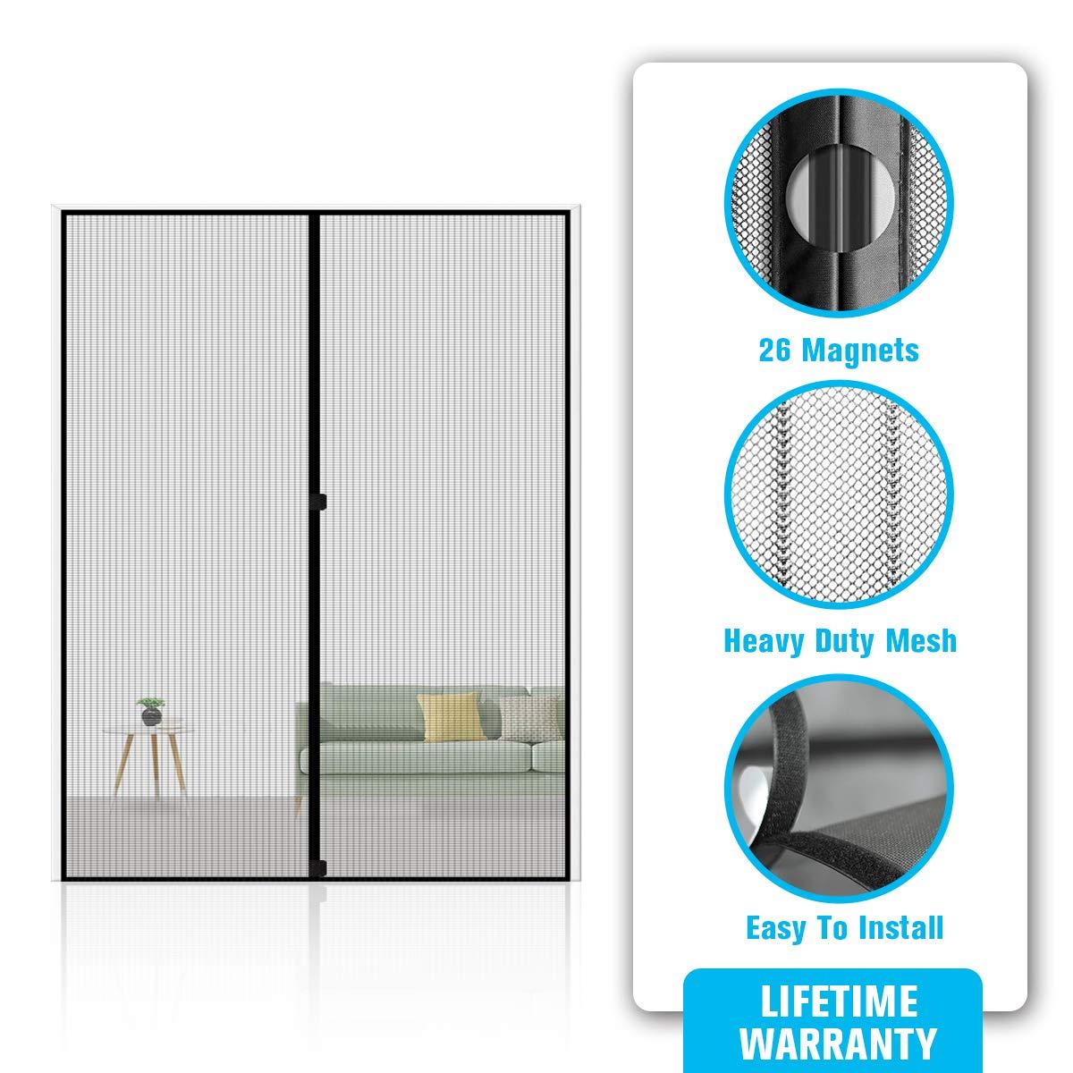 Black Magnetic Screen Door,Reinforced Heavy Duty Mesh Curtain Screen Doors with Magnets French Door Screen Full Frame Velcro Easy Installation Screen Door Mesh Kit Fits 70 x 80 Max Door Size