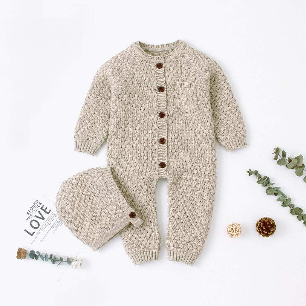 Newborn Baby Hooded Romper Girl Boy Knitted Sweater Longsleeve Bodysuit Jumpsuit