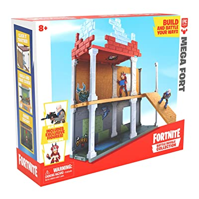 Fortnite Battle Royale Collection Mega Fort Display Set & 2 Exclusive Figures: Blue Squire & Tricera Ops, Multicolor: Toys & Games