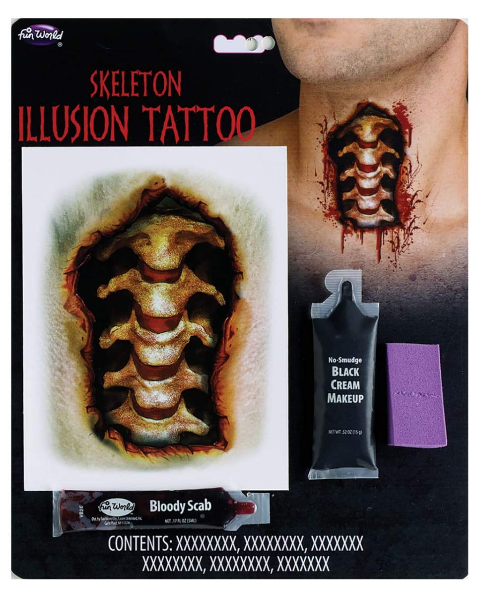 Horror-Shop Skeleton Neck Adhesive Tattoo Makeup Set: Amazon.es ...