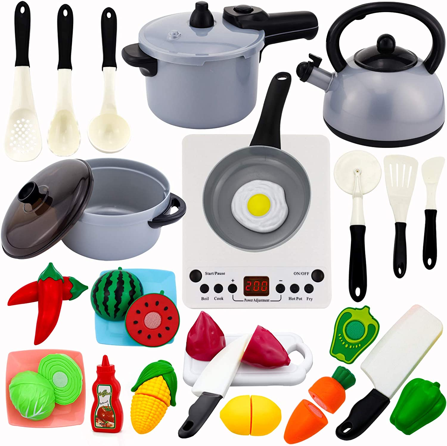 Eazyco 26Pcs Play Kitchen Set for Kids, Pretend Cooking Toys Cookware Playset with Electronic Induction Cooktop and Pressure Cooker and Utensils, Cut Play Food, Learning Gifts for Toddlers Girls Boys