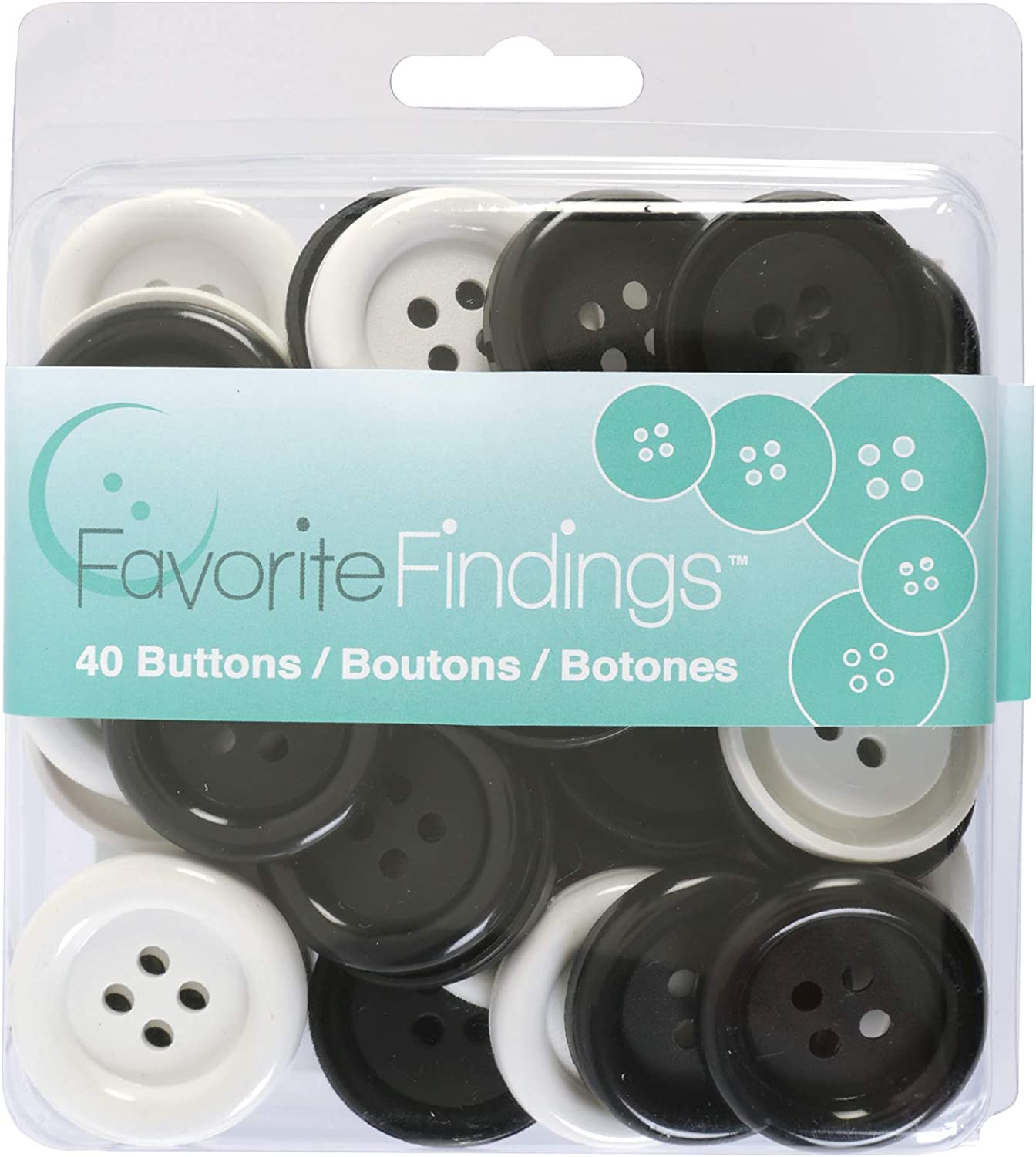 Black and White Favorite Findings Assorted Craft and Sewing Buttons Blumenthal Lansing 4000187 40pc 40 Piece