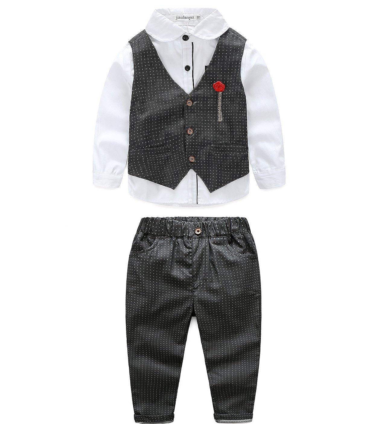 422359345 JIANLANPTT 3Pcs Set Clothing Set Kids Gentleman Boy Suit Shirt Vest Casual  Pants