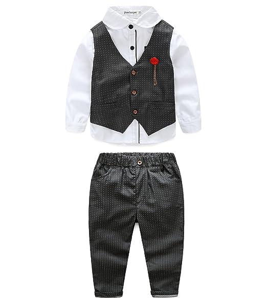 ead58544c JIANLANPTT Handsome Gentleman Boy Suit 3Pcs/Set Clothing Set Kids Shirt Vest  Casual Pants Black