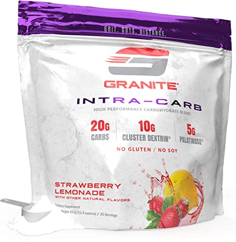 Carb Supplement by Granite Supplements 20 Servings of Intra-Carb Strawberry Lemonade to Train Longer and Harder, No Crash or Upset Stomach Includes Cyclic Dextrin, Isomaltulose, and Dextrose -438g