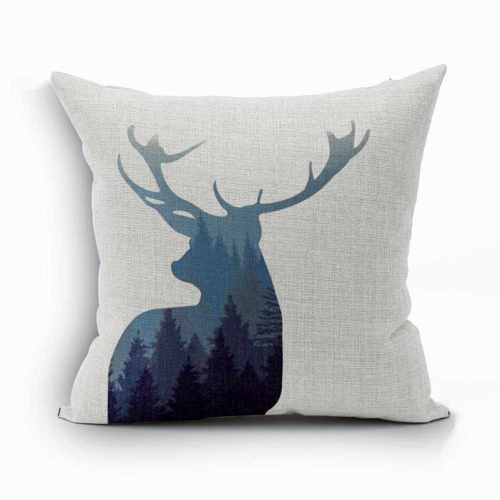 WoodBury Throw Pillow Case Cushion Cover Decorative Pillowcase Square Deer Pattern 18 x 18 Inches 4 Set by Wood Bury (Image #4)