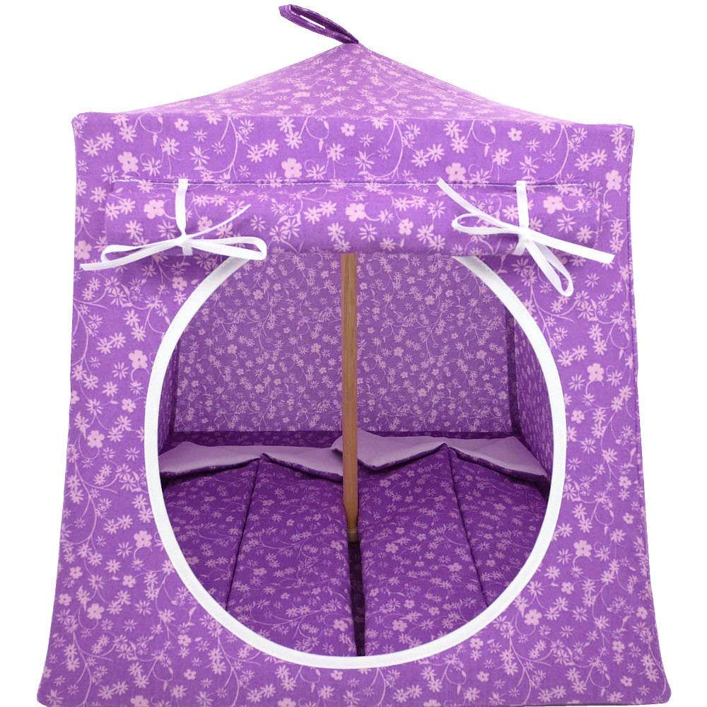 Toy Play Pop Up Tent, 2 Sleeping Bags, Violet, Small Flower Print Fabric for Dolls, Stuffed Animals