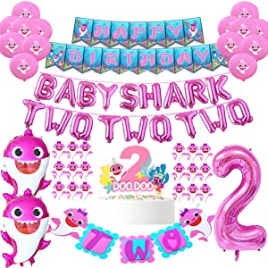 Baby Shark Party Supplies 2nd Birthday Baby Shark Birthday Decorations Baby Shark Two Two Two Balloons Baby Shark Banner Second Birthday Baby Shark Cake Topper CupCake Toppers For Baby Girls Bday(84pcs)