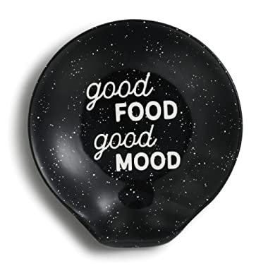 Good Food Good Mood Black Speckle 5 x 4 Ceramic Stoneware Spoon Rest