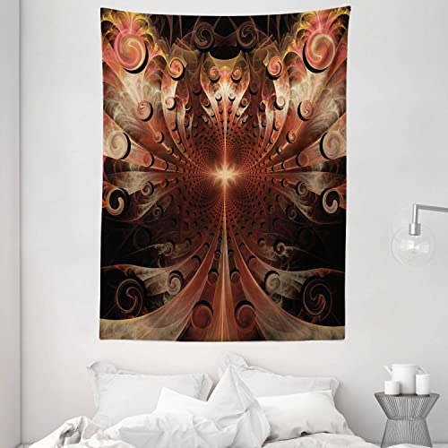 Ambesonne Fractal Tapestry, Gothic Medieval Heraldic Ornamental Background Middle Age Knight Aged Artwork Print, Wall Hanging for Bedroom Living Room Dorm, 60 X 80 , Pink Brown