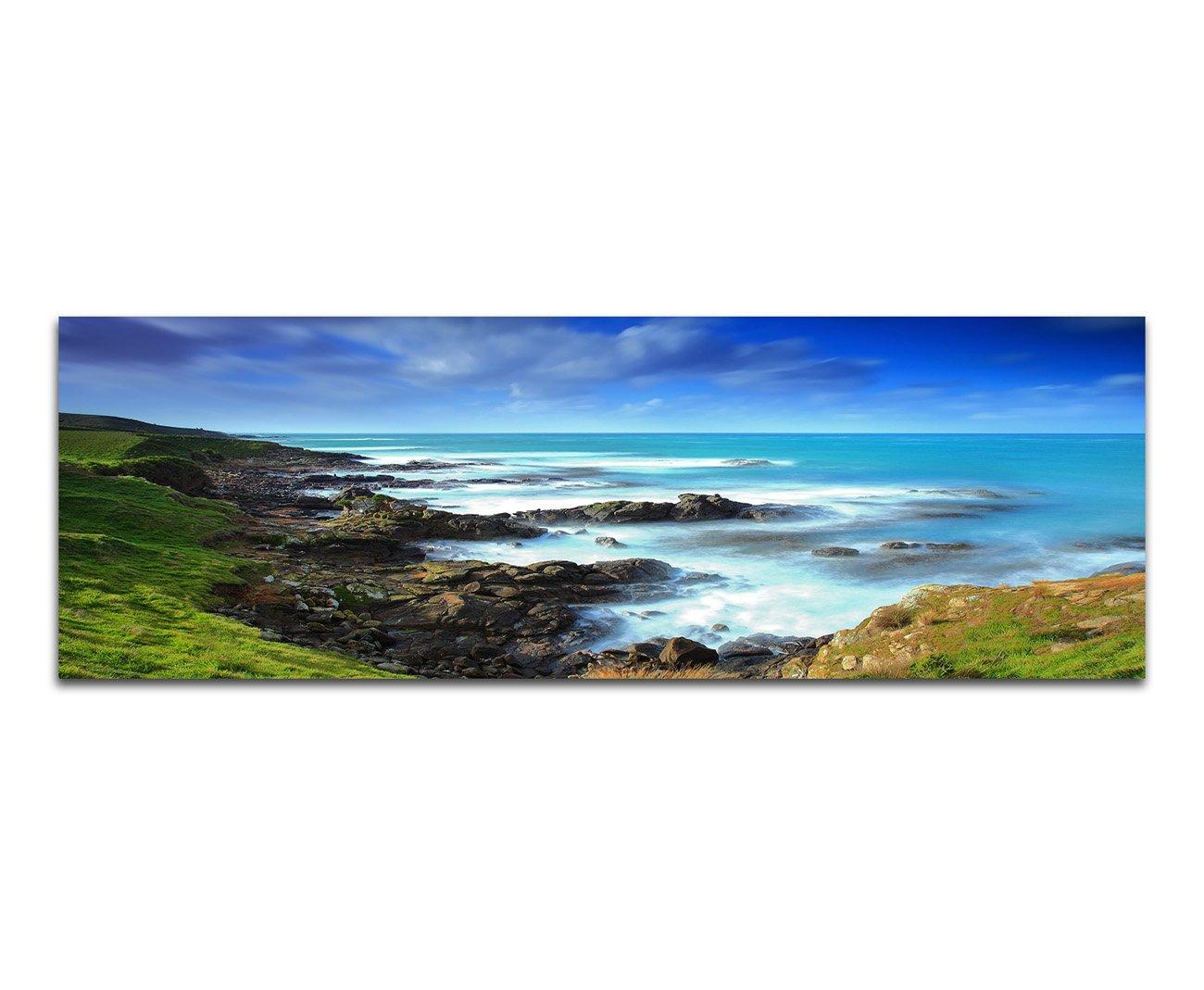 Panoramabild XXL auf Leinwand Leinwand auf und Keilrahmen 180x70cm Neuseeland Küste Wiese Meer Wolken 054980