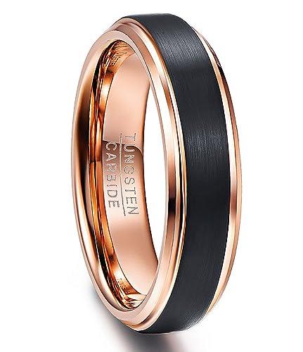 Eheringe Einfach Hochzeit Band Wolfram Ring 8mm Rose Gold Ring Für Männer Frauen Bevel Kanten Comfort Fit