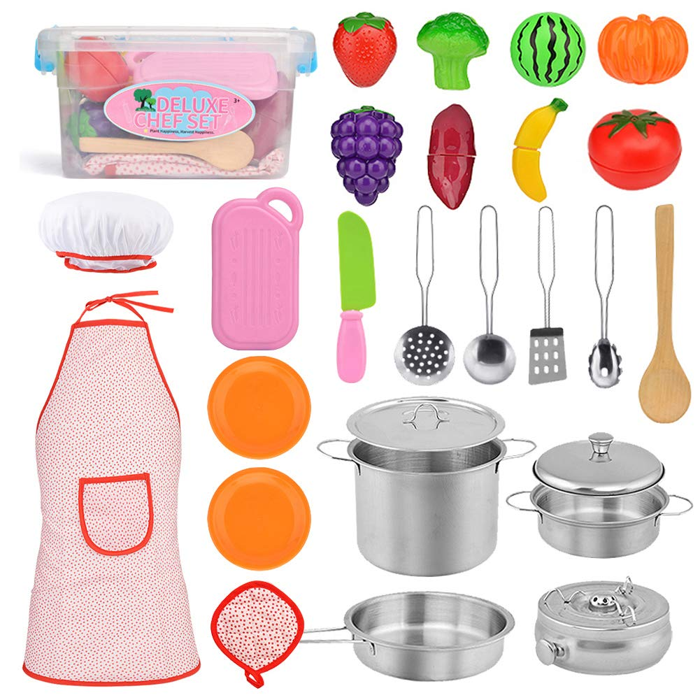 Exqline Kids Kitchen Pretend Play Toys - 25 Pcs Included Stainless Steel Stove and Cookware Pots and Pans Set, Cooking Utensils Accessories, Cutting Vegetables & Fruit, Apron & Chef Hat for Girls Boys by Exqline
