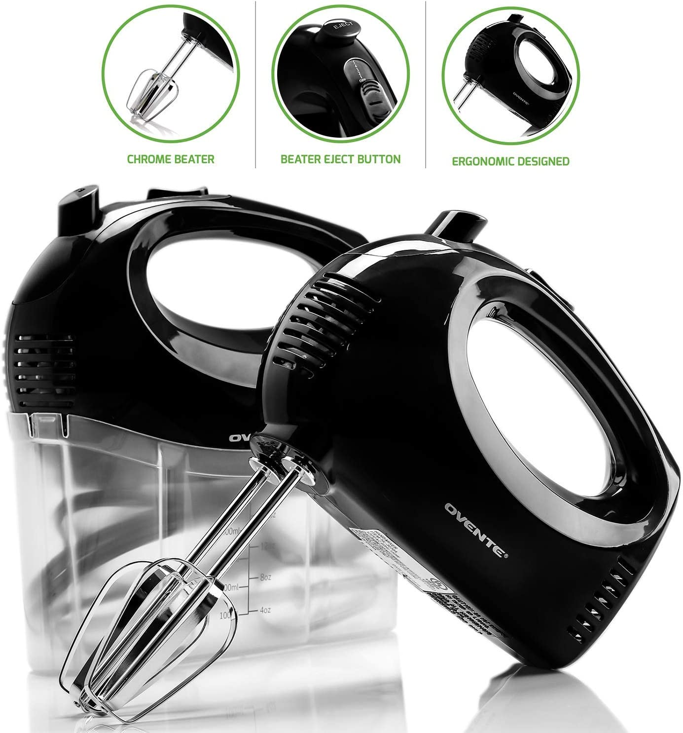 OVENTE Electric Hand Mixer, 5 Mixing Speeds, 150W, 2 Stainless Steel Chrome Beaters Snap-On Storage Case, Black HM151B